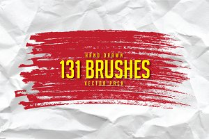 131 Hand Drawn Brushes Vector Pack