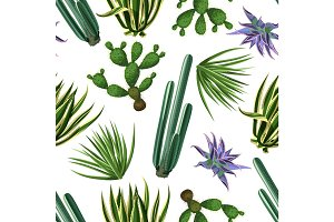Seamless pattern with cactuses and succulents set. Plants of desert