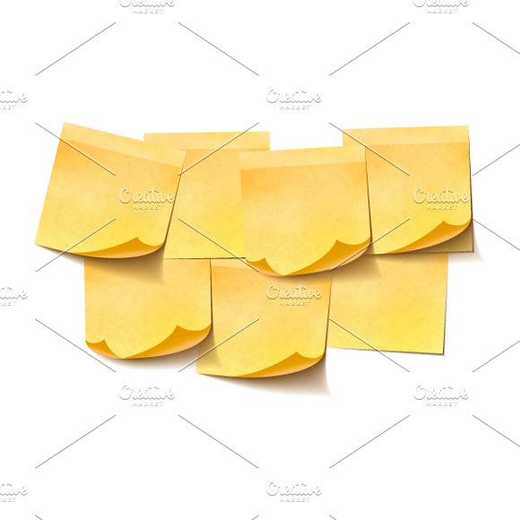Set of yellow empty sticky notes
