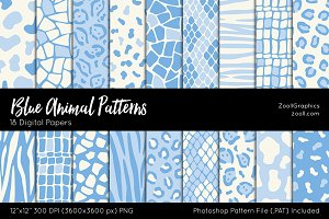 Blue Animal Digital Papers