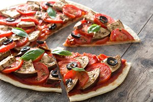 Vegetarian pizza slices