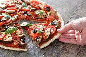 Vegetarian pizza slice