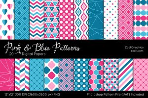 Pink & Blue Digital Papers