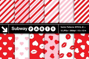 Vector Valentine's Stripes Patterns