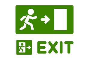 Green Emergency Exit Sign Set