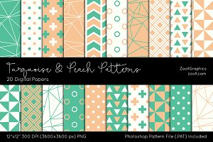 Turquoise & Peach Digital Papers