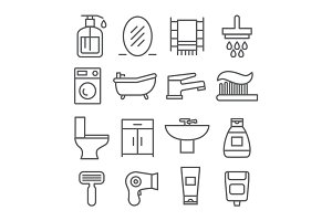 Bathroom Line Icons