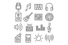 Music Line Icons