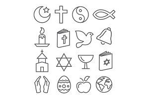 Religion Line Icons