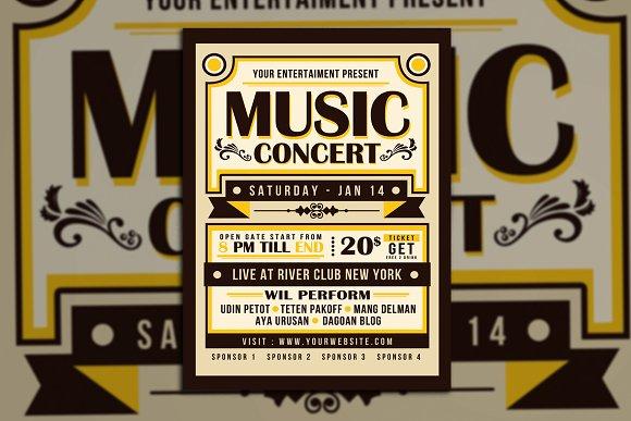 vintage music concert typography flyer templates creative market