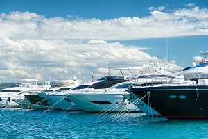 Modern yachts in harbor