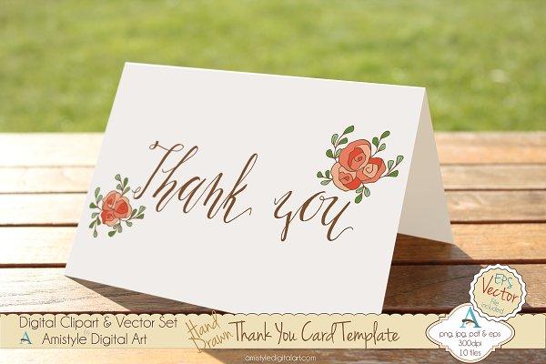 Thank You-Peach Rose-Card Template