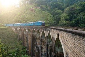 Railway bridge and train