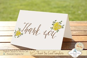 Thank You-Yellow Rose-Card Template