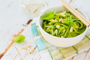 Zucchini pasta in white bowl