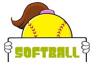 Softball Girl Holding A Sign