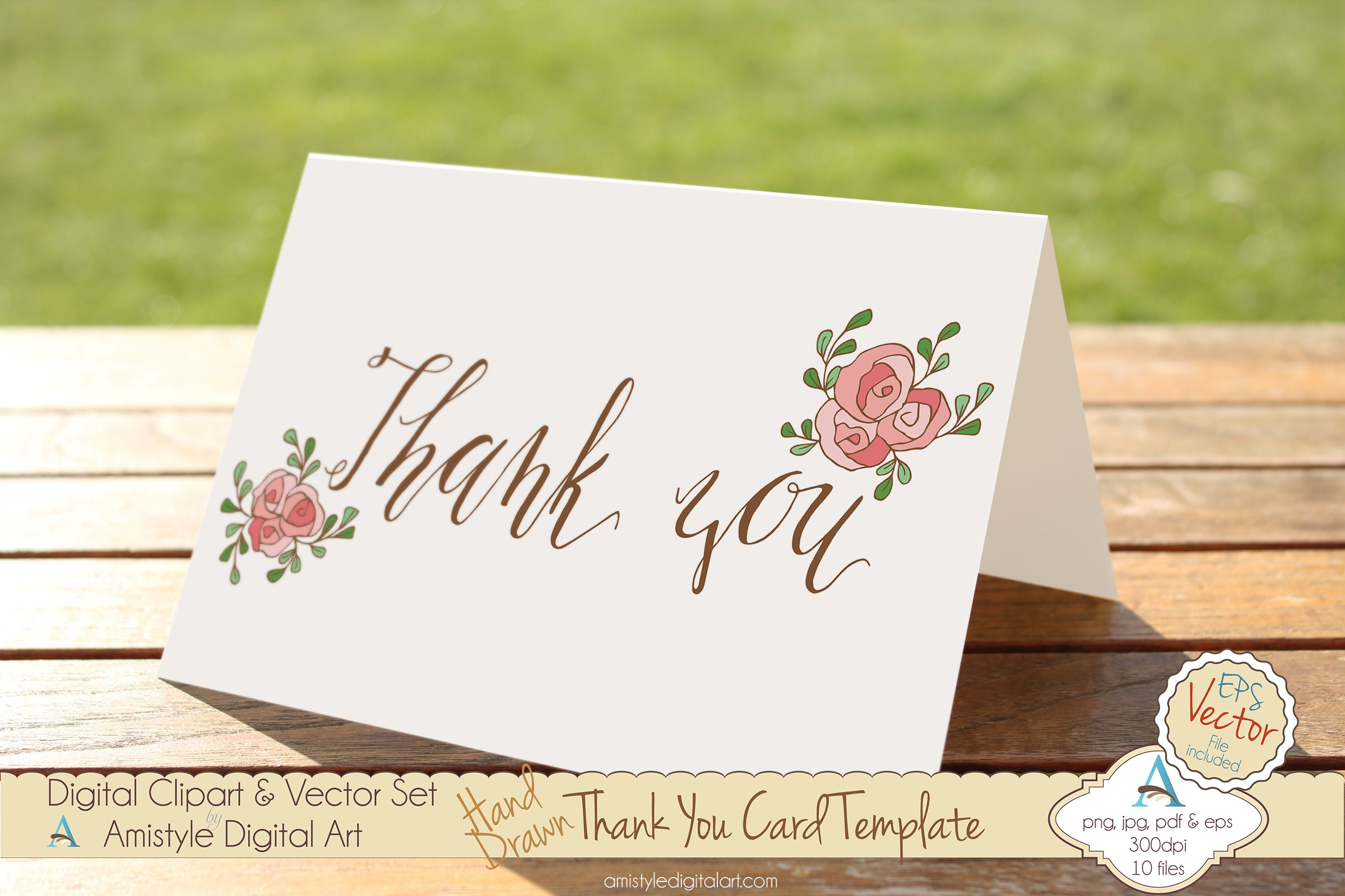thank you pink rose card template card templates creative market. Black Bedroom Furniture Sets. Home Design Ideas