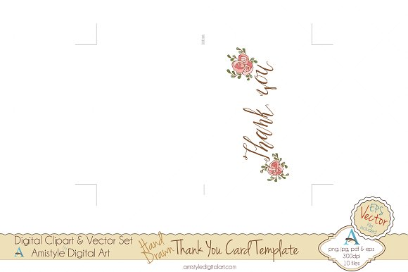 thank you pink rose card template card templates creative market