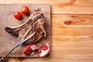 Restaurant beef steak menu or recipe background