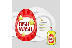 Vector kitchen dish wash ad product package