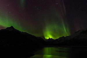 Northern Lights over Lake & Mountain