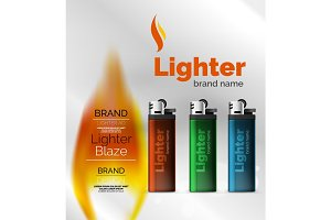 Vector lighter ad template with orange blaze