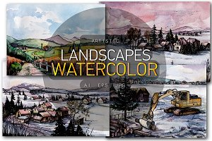 Countryside Watercolor Landscapes