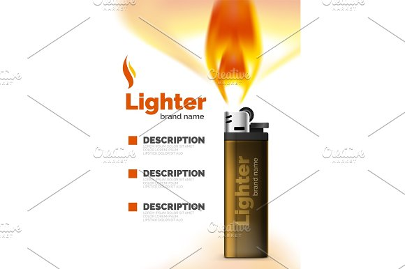 Vector Lighter Ad Template With Orange Blaze
