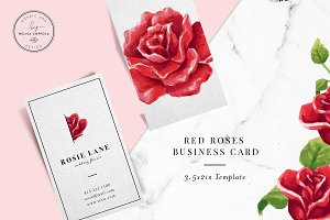 Red Roses Business Card Template