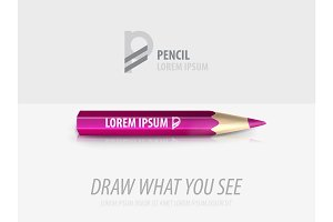Vector pencil premium ad product template