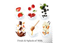 Fruit in a milk splash