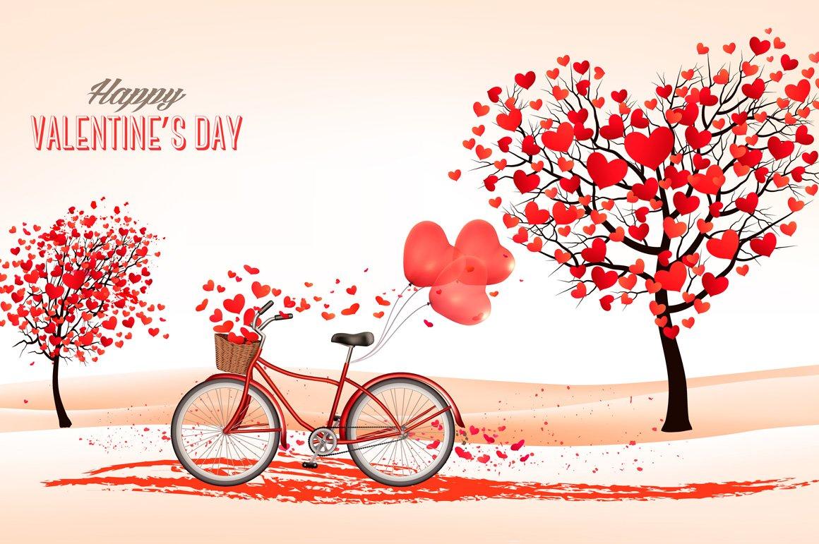 Valentine 39 s day background illustrations creative market - San valentin desktop backgrounds ...