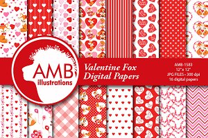 Valentine Fox Digital paper AMB-1583