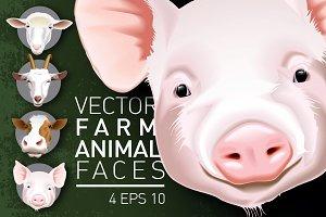 4 vector muzzle farm animals