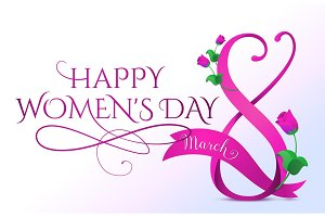 Vector illustration of 8 march womens day greeting