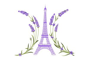Eiffel tower with lavender flowers.