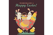 Bunnies,chicken and easter eggs