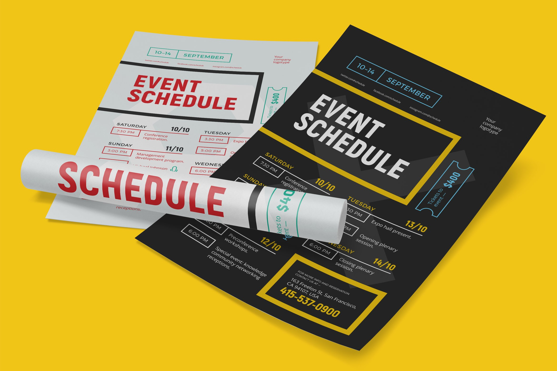 schedule event poster template flyer templates. Black Bedroom Furniture Sets. Home Design Ideas