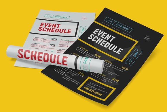 schedule event poster template flyer templates creative market