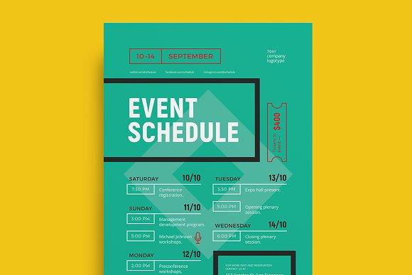 schedule event poster template flyer templates creative market