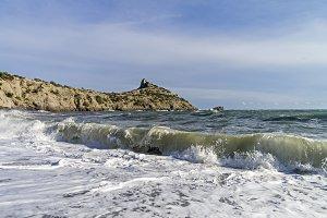 Strong surf on a sandy beach