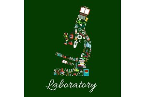 Laboratory microscope symbol with science items
