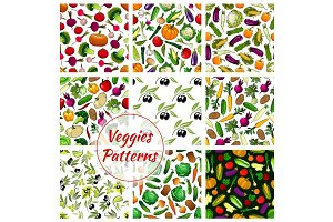 Veggies vegetables seamless patterns set