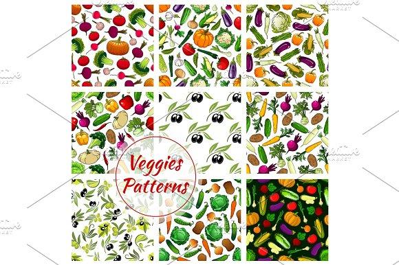 Veggies Vegetables Seamless Patterns Set
