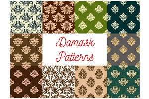 Damask flowery ornate seamless patterns set