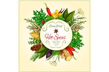 Hot spices and herbs vector poster