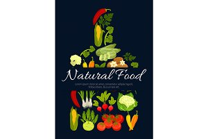 Natural vegetarian vegetables food vector poster
