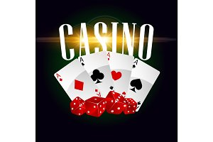 Casino cards and dices vector poster
