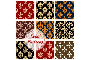 Royal fleur-de-lis floral heraldic flowery pattern