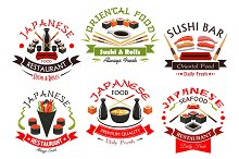 Japanese cuisine seafood signs, emblems set